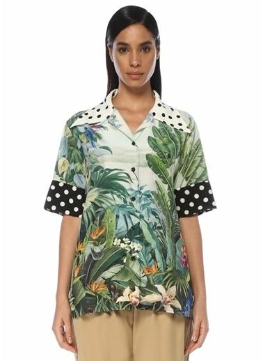 Dolce&Gabbana Dolce&Gabbana Oversize Tropikal Desenli Kısa Kol İpek Gömlek 101482598 Renkli